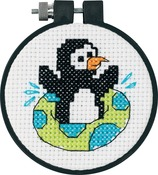 "Learn - A - Craft Playful Penguin Counted Cross Stitch Kit-3"" Round 11 Count"