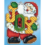 "4""X3"" 14 Count - Joy Santa Ornament Plastic Canvas Kit"