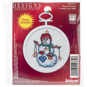 "2.5"" Round 18 Count - Starry Snowman Mini Counted Cross Stitch Kit"