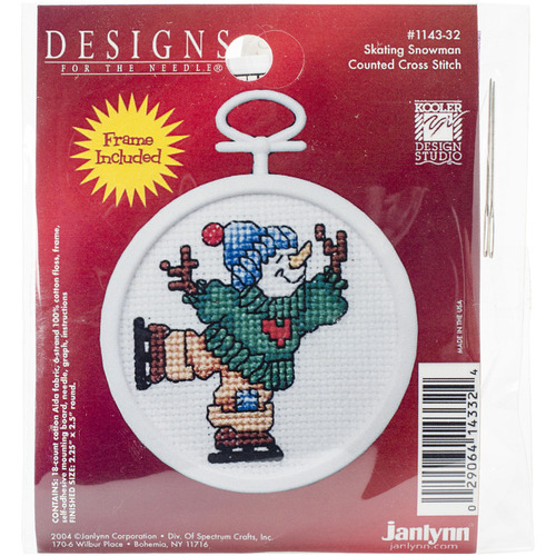 """2.5"""" Round 18 Count - Skating Snowman Mini Counted Cross Stitch Kit"""