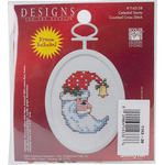 "2.75"" Oval 18 Count - Celestial Santa Mini Counted Cross Stitch Kit"