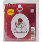 """2.75"""" Oval 18 Count - Skiing Dude Mini Counted Cross Stitch Kit"""