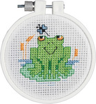 """3"""" Round 11 Count - Kid Stitch Soggy Froggy Mini Counted Cross Stitch Kit"""