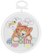 """2.5"""" Round 18 Count - Dreaming Kitty Mini Counted Cross Stitch Kit"""
