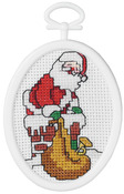 """2.75"""" Oval 18 Count - Down The Chimney Mini Counted Cross Stitch Kit"""