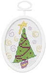 """2.75"""" Oval 18 Count - Retro Tree Mini Counted Cross Stitch Kit"""