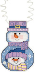 """3""""X2.25"""" 14 Count - Holiday Wizzers Snowman With Scarf Counted Cross Stitch Kit"""