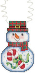 "3""X2.25"" 14 Count - Holiday Wizzers Snowman With Candy Cane Counted Cross Stitch"