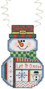 "3""X2.25"" 14 Count - Holiday Wizzers Snowman Let It Snow Counted Cross Stitch Kit"