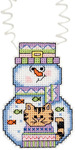 "3""X2.25"" 14 Count - Holiday Wizzers Snowman With Cat Counted Cross Stitch Kit"