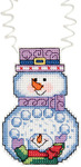 "3""X2.25"" 14 Count - Holiday Wizzers Snowman With Snowballs Counted Cross Stitch"