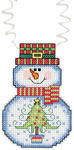 "3""X2.25"" 14 Count - Holiday Wizzers Snowman With Tree Counted Cross Stitch Kit"