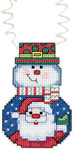 "3""X2.25"" 14 Count - Holiday Wizzers Snowman With Santa Counted Cross Stitch Kit"