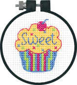 "Learn - A - Craft Cupcake Counted Cross Stitch Kit-3"" Round 11 Count"