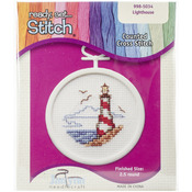 "2.5"" Round 18 Count - Lighthouse Mini Counted Cross Stitch Kit"
