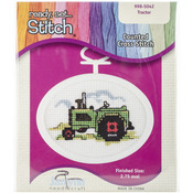 """2.75"""" Oval 18 Count - Tractor Mini Counted Cross Stitch Kit"""