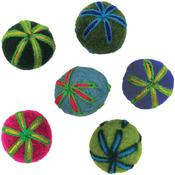 """.75"""" 6/Pkg - Feltworks Embroidered Balls"""