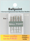 Size 10/70 5/Pkg - Klasse Ball Point Machine Needles