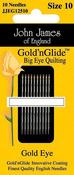 Size 10 10/Pkg - Gold'n Glide Big Eye Quilting Needles