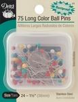 Size 24 75/Pkg - Long Color Ball Pins