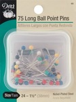 Size 24 75/Pkg - Long Color Ball Point Pins
