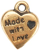 Gold Made With Love Heart - Metal Charms