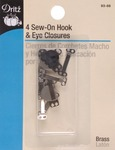 "Black & Nickel - Sew-On Hooks & Eyes 5/8"" 4/Pkg"