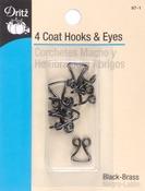 """Black - Coat Hooks & Eyes 3/8"""" 4/Pkg"""