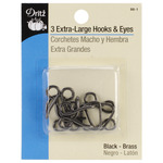 Black - Extra-Large Hooks & Eyes 3/Pkg