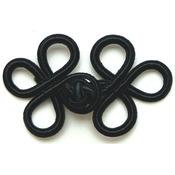 "Black 3""X1-3/4"" - Rayon Braid Frog Closure"