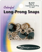 Black - Capped Long-Prong Snaps Size 24 10/Pkg
