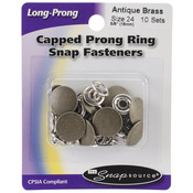 Antique Brass - Capped Long-Prong Snaps Size 24 10/Pkg
