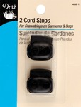 "Black - Double Cord Stops For 1/8"" Cord 2/Pkg"