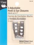 """Adjustable Hooks & Eyes 1-1/2"""" 3/Pkg - Nickel"""