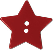 "Red Star 2-Hole 1-1/8"" 2/Pkg - Slimline Buttons Series Funtastics"