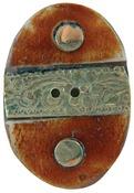 "1-1/2"" Oval W/Gold Metal Trim 1/Pkg - Handmade Bone Button"