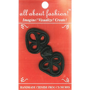 "Black Flower Heart - Handmade Chinese Frog Closure 1-1/4""X2-3/4"" 1/Pkg"