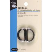 "Black - Metal ""D"" Rings 1"" 4/Pkg"