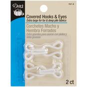White - Covered Hooks & Eyes 2/Pkg