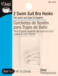 """Clear - Swimsuit Bra Hook 1/2"""" Wide 2/Pkg"""