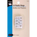"""White - Plastic Rings .5"""" 14/Pkg"""