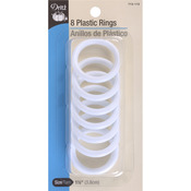 """White - Plastic Rings 1.5"""" 8/Pkg"""