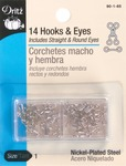 Nickel - Hooks & Eyes Size 1 14/Pkg