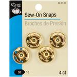 Size 10 4/Pkg - Gold Sew-On Snaps
