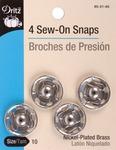 Size 10 4/Pkg - Nickel Sew-On Snaps