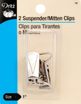 "Nickel - Suspender/Mitten Clips 1"" 2/Pkg"