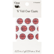 "Sports Motifs - Basketball - Fold-Over Elastic 5/8""X1yd"