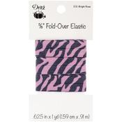 "Zebra - Bright Rose - Fold-Over Elastic 5/8""X1yd"