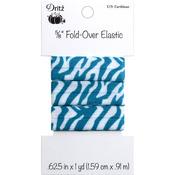 "Zebra - Caribbean - Fold-Over Elastic 5/8""X1yd"