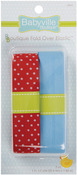 "Red W/Dots & Solid Blue - Babyville Boutique Fold-Over Elastic 1""X4yd"